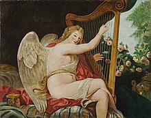 Scuola italiana, inizi secolo XIX Giovane figura alata che suona l'arpa in un giardino (Allegoria della Musica)