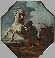 Cerchia di Jacques Cortois, detto il Borgognone (Saint-Hyppolite 1621 - Roma 1676) Giovane scudiero moro con cavallo bianco imbizzarrito