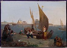 GASPARO FRANCESCONI (VENEZIA 1817 - 1853) Mercato del pesce a Venezia