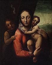 Scuola senese, fine secolo XVI - inizi secolo XVIII Madonna con Bambino e San Giovannino