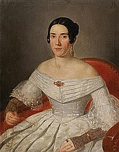 Scuola italiana, secolo XIX Ritratto di dama in abito di seta bianca, con lorniet da lettura in mano