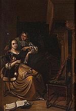 Maniera di Gerritsz. van Brekelenkam   Coppia galante in interno