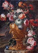 Scuola napoletana, prima metà del secolo XVIII Rose, tulipani, peonie e altri fiori in un vaso istoriato