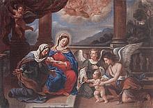 Cerchia di Francesco Albani (Bologna 1578 - 1660) Madonna con Bambino, Sant'Anna e Angeli