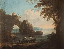 Gregorio Fidanza (Collevecchio 1759 - Roma 1823) Paesaggio costiero con arco naturale e figure di pescatori