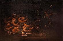 Studio di Giuseppe Ruoppolo (Napoli 1631-1710) Ciambelle in un piatto di ceramica e fiori d'arancio su un tavolo