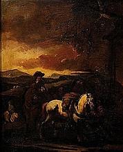 Francesco Simonini (Parma 1686 - Venezia o Firenze 1753 o 1755) Cavaliere e cavalli in sosta