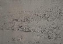 Scuola romana, inizi secolo XIX Veduta del lago di Nemi con lavandaie