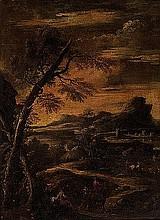 Cerchia di Antonio Francesco Peruzzini  (Ancona 1643 o 1646 - Milano 1724) Paesaggio con albero e cavalieri in sosta