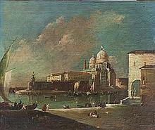 Maniera di Francesco Guardi Capriccio con la Chiesa della Salute e la punta della Dogana; e Veduta di Cannaregio con il Ponte dei Tre Archi