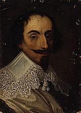 Cerchia di Frans Pourbous il Giovane (Anversa 1569 - Parigi 1622) Ritratto di gentiluomo a mezzo busto, con colletto di pizzo bianco