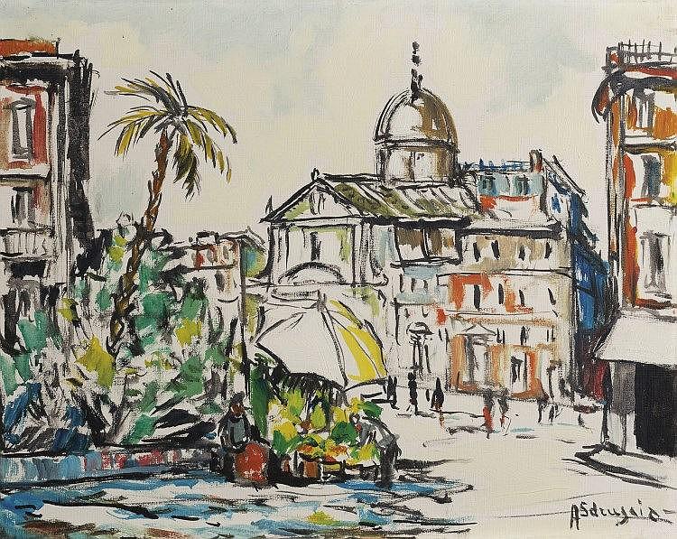 Achille Sdruscia (Roma 1910 - 1994) Roma, Piazza Benedetto Cairoli