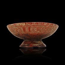 Pre-columbian Mixtec Incised Pedestal Bowl