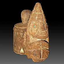 Rare Pre-columbian Lambayeque Lime Dipper Container