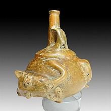 Pre-columbian Chorrera Coatimundi Whistling Vessel