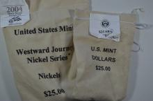 A pair of mint sewn bags of U.S. Mint coinage