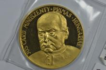Hungary 1973 Millennium of Christianity in Hungary Gold Medal (44.34 mm, 58.06 grams, 22 kt gold, 1.7113 oz AGW)
