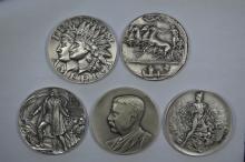 A Quintet of .999 Fine Silver Medals