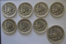 An octet of circa 1970 .999 Fine Silver Medals