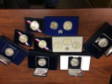 A Nine piece grouping  of U.S. Mint Modern Commemorative Coins and Sets