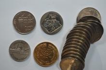 A roll of Israel 1961 Copper-Nickel Lira