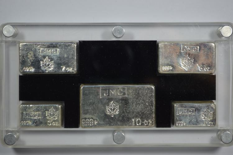 set of JMC (Johnson Matthey) poured silver bars