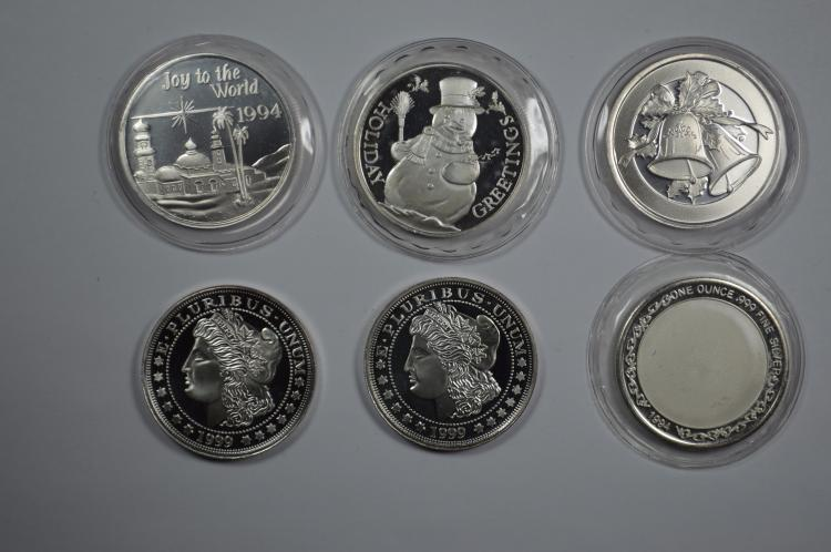 A Half Dozen One Ounce Silver Rounds