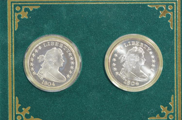 2-piece set of Gallery Mint 1804 Silver Dollar reproductions