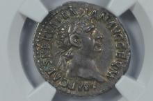 Roman Empire. Trajan (98-117 A.D.) Silver Denarius. NGC XF, Strike 4/5, Surface 5/5