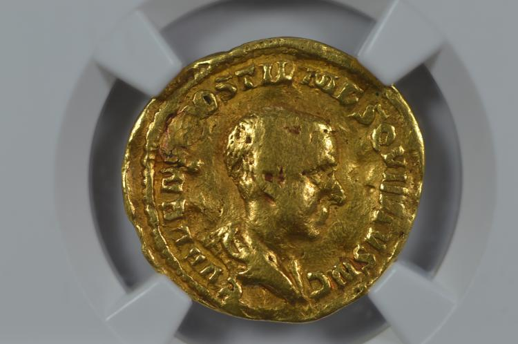 Roman Empire. Hostilian as Caesar (c. 251 AD) Gold Aureus (4.31 grams). NGC VG, Strike: 5/5, Surface: 1/5, Plugged.