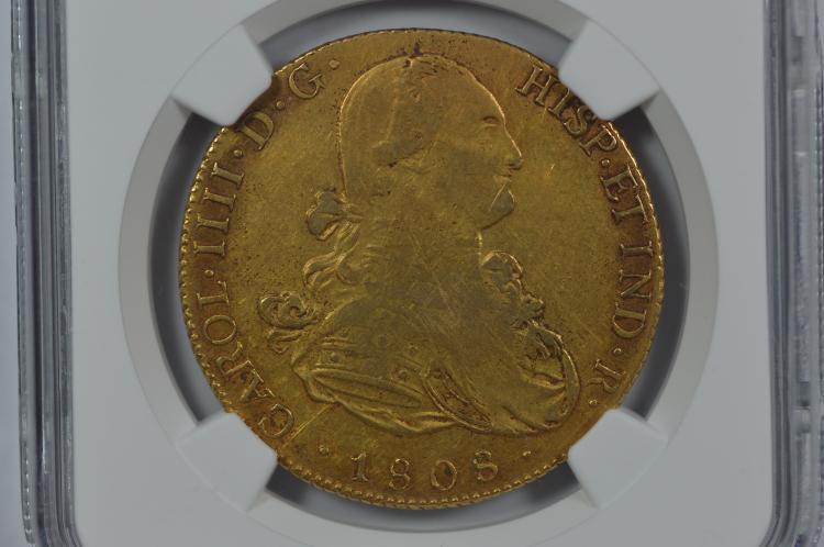 Bolivia 1808-PTS PJ Gold 8 Escudo. NGC VF30