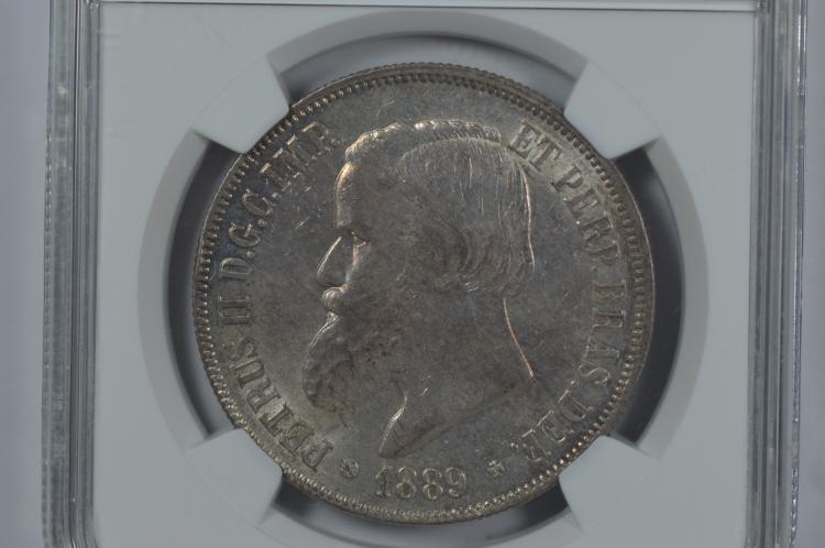 Brazil 1889 Silver 2000 Reis. NGC MS63