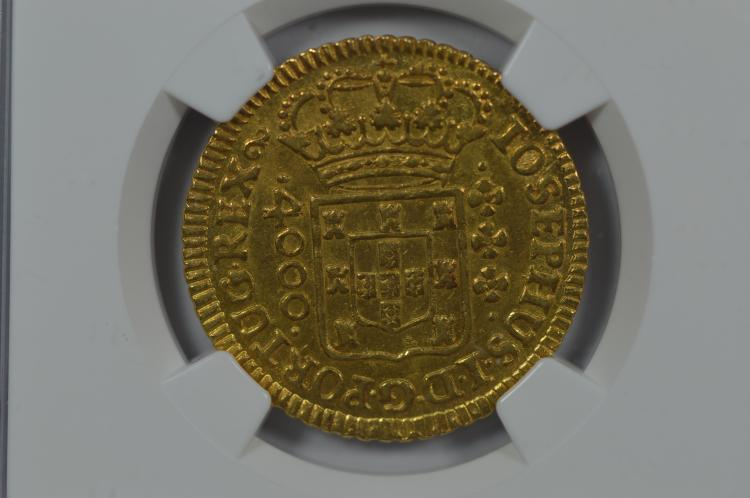 Brazil 1775 Gold 4000 Reis. NGC AU55 Wings Silver Sticker
