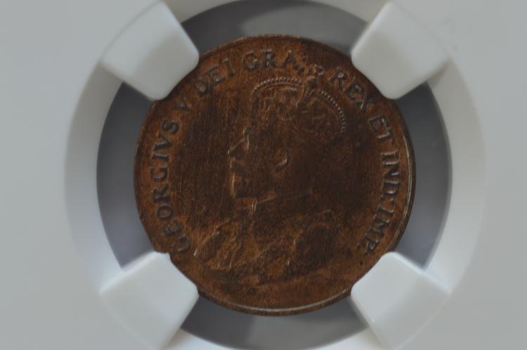 Canada 1c 1925 NGC AU50 BN.