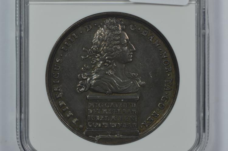 A splendid 1717-Dated Danish Silver Medal by Peter Berg (Galster-309)