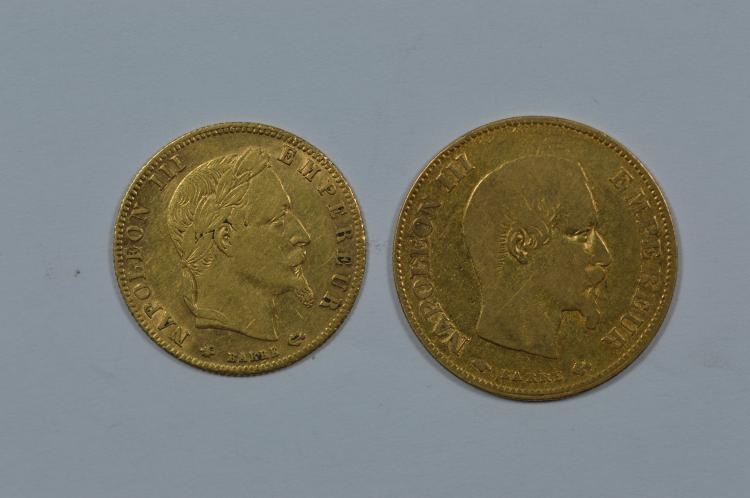 A pair of smaller French gold coins