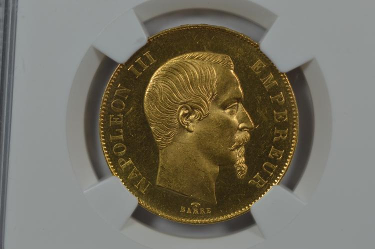 France 1855-A Gold 50 Francs. NGC MS64, Wings Gold Sticker.