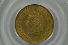 German States, Hannover. 1825-B Gold 5 Thaler. PCGS XF40, Wings Gold Sticker.
