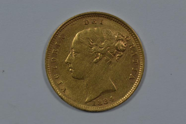 Great Britain 1884 Gold 1/2 Sovereign (.1177 oz AGW)