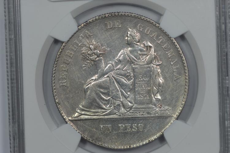 Guatemala 1893-RG Silver Peso. NGC AU