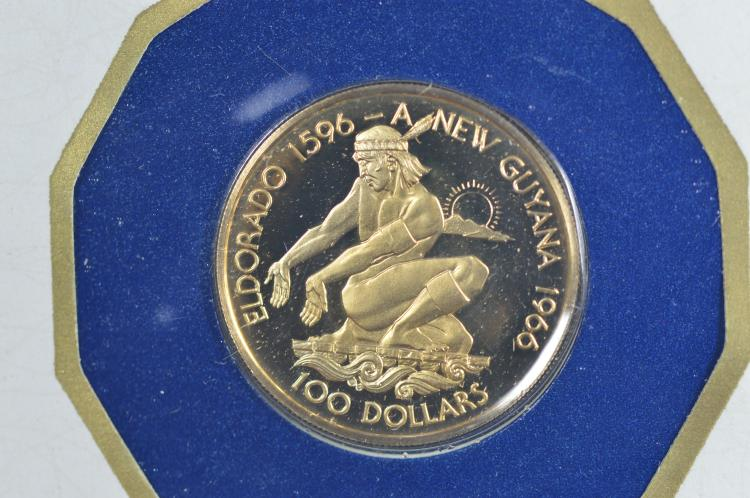 Guyana 1976 Gold $100 (.0923 oz AGW). Gem Br. Proof