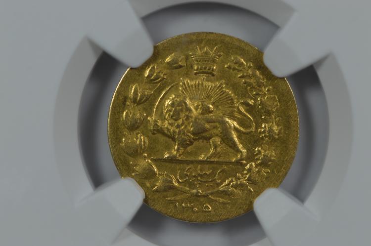 Iran SH1305 (1926) Gold Pahlavi, KM-1111. Reza Shah (1925-1941). NGC XF45
