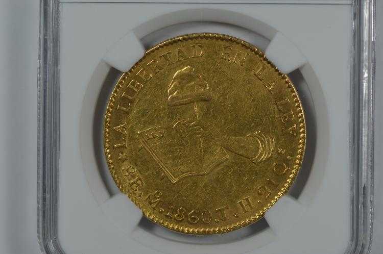 Mexico 1860-Mo TH Gold 8 Escudo (.7615 oz AGW). NGC MS61