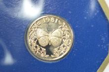 Panama 1981 Gold 20 Balboa (.0344 oz AGW). Gem Br. Proof