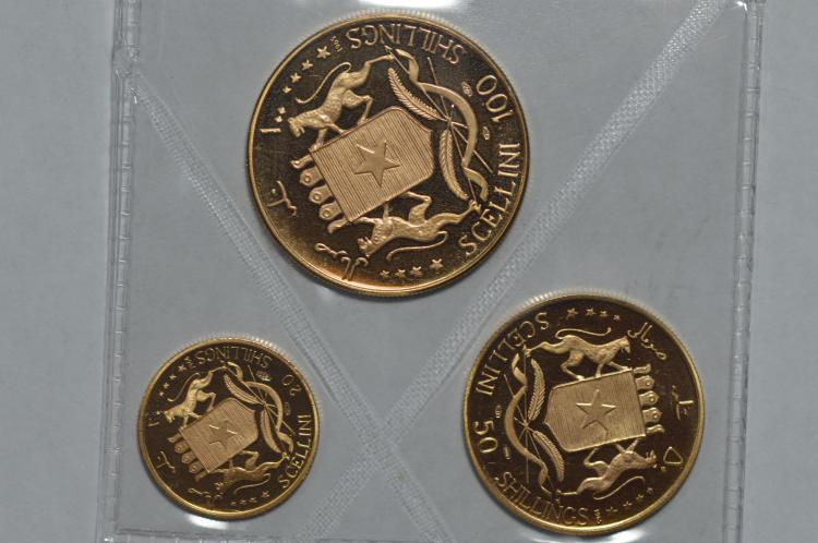 A trio of 1965 Somalia Gold Coins celebrating their 5th Anniversary of Independence