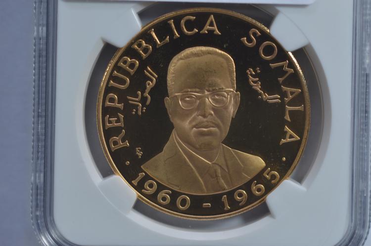 Somalia 1965 Gold 200 Shillings (.8102 oz AGW). NGC PF 67 Ultra Cameo