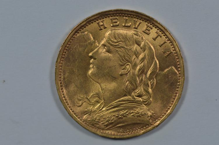 Switzerland Gold 1935-LB 20 Francs (.1867 oz AGW).