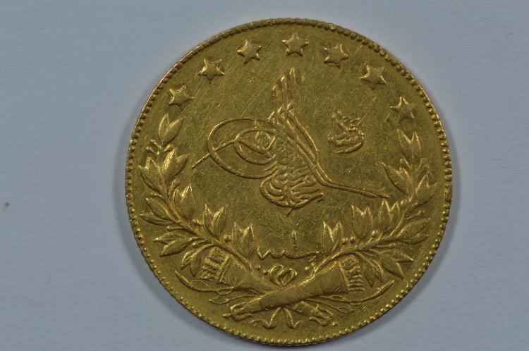 Turkey Gold 100 Kurush (.2127 oz AGW). AH 1327/1 (1909)
