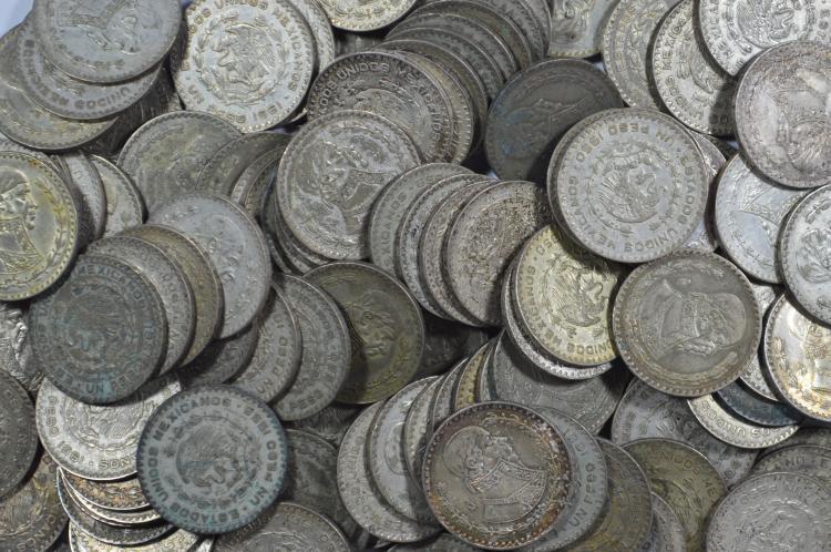 A small hoard of Mexico 10% Silver Pesos (1957-1967)