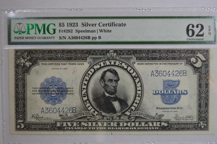 $5.00 Series of 1923 Silver Certificate, Fr-282. PMG Uncirculated 62EPQ